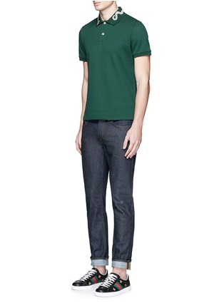 Figure View - Click To Enlarge - Gucci - Snake and bee embroidery polo shirt