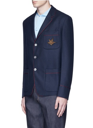 Front View - Click To Enlarge - Gucci - Bee embroidery cashmere pyjama blazer