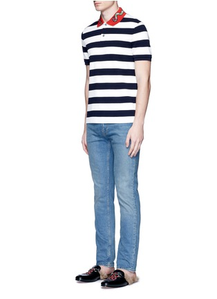 Figure View - Click To Enlarge - Gucci - Snake and bee embroidery stripe polo shirt