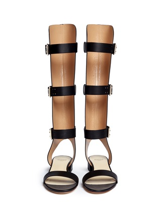 Front View - Click To Enlarge - Francesco Russo - Cutout shaft leather gladiator sandals