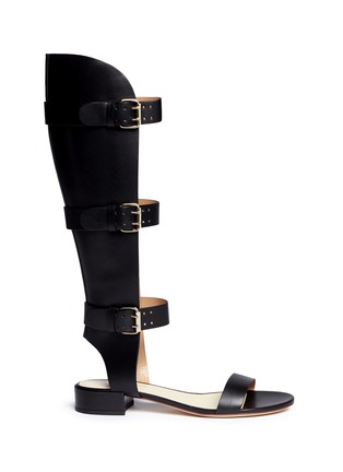 Main View - Click To Enlarge - Francesco Russo - Cutout shaft leather gladiator sandals