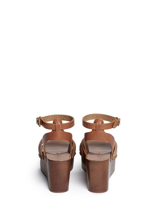 Back View - Click To Enlarge - Isabel Marant Étoile - 'Zia' leather strap clog wedge sandals