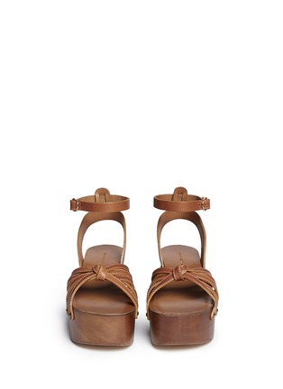 Front View - Click To Enlarge - Isabel Marant Étoile - 'Zia' leather strap clog wedge sandals