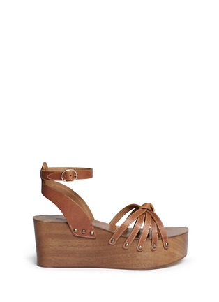 Main View - Click To Enlarge - ISABEL MARANT ÉTOILE - 'Zia' leather strap clog wedge sandals