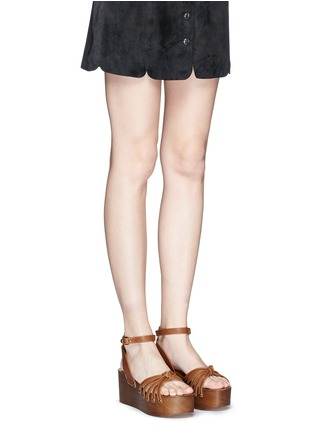 Figure View - Click To Enlarge - ISABEL MARANT ÉTOILE - 'Zia' leather strap clog wedge sandals