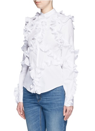 Front View - Click To Enlarge - Alexander McQueen - Frill trim cotton poplin shirt