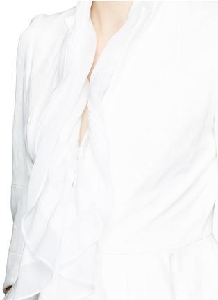 Detail View - Click To Enlarge - Alexander McQueen - Plissé silk drape scarf peplum jacket
