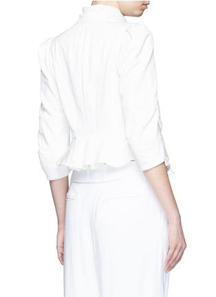 Back View - Click To Enlarge - Alexander McQueen - Plissé silk drape scarf peplum jacket