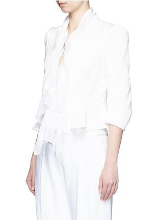 Front View - Click To Enlarge - Alexander McQueen - Plissé silk drape scarf peplum jacket