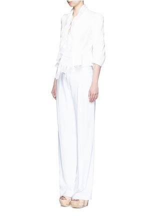 Figure View - Click To Enlarge - Alexander McQueen - Plissé silk drape scarf peplum jacket