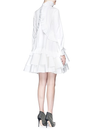 Back View - Click To Enlarge - Alexander McQueen - Floral jacquard pleated tier ruffle shirt dress