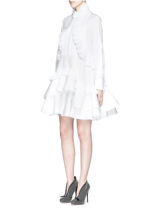 Figure View - Click To Enlarge - Alexander McQueen - Floral jacquard pleated tier ruffle shirt dress