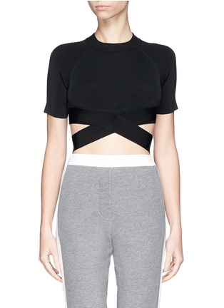 Main View - Click To Enlarge - T By Alexander Wang - Criss cross band stretch cropped top