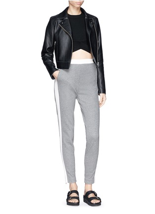 Figure View - Click To Enlarge - T By Alexander Wang - Criss cross band stretch cropped top