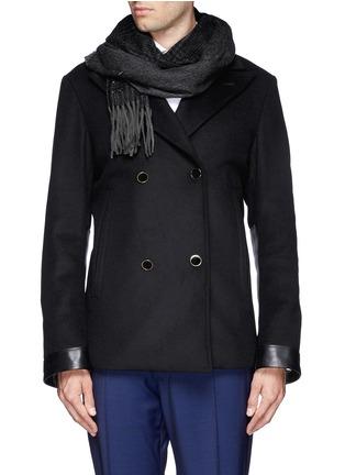 Figure View - Click To Enlarge - ARMANI COLLEZIONI - Glen plaid cashmere scarf