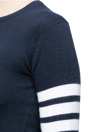 Detail View - Click To Enlarge - Thom Browne - Stripe sleeve button cashmere sweater