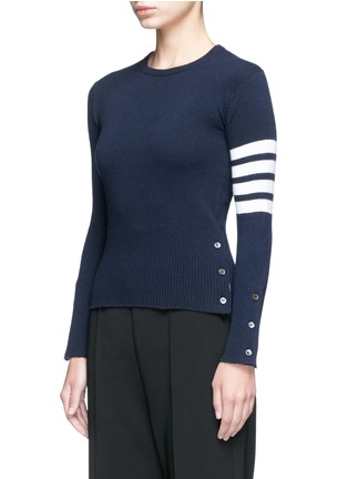 Front View - Click To Enlarge - Thom Browne - Stripe sleeve button cashmere sweater