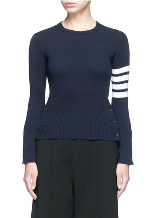 Main View - Click To Enlarge - Thom Browne - Stripe sleeve button cashmere sweater