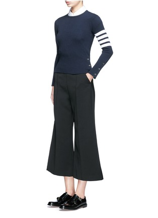 Figure View - Click To Enlarge - Thom Browne - Stripe sleeve button cashmere sweater