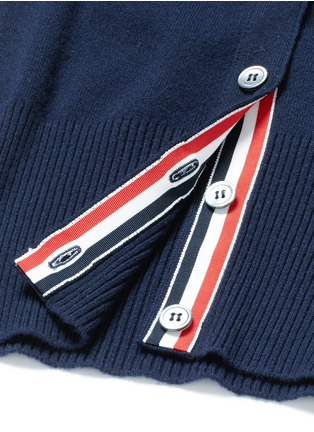 Detail View - Click To Enlarge - Thom Browne - Stripe sleeve button cashmere cardigan