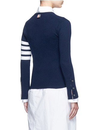 Back View - Click To Enlarge - Thom Browne - Stripe sleeve button cashmere cardigan