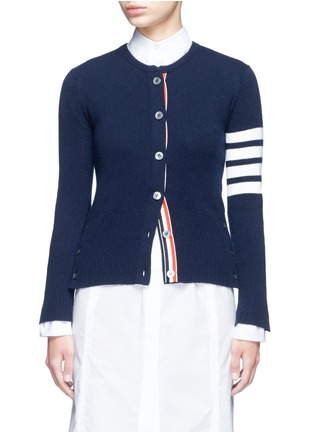 Main View - Click To Enlarge - Thom Browne - Stripe sleeve button cashmere cardigan