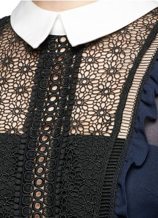 Detail View - Click To Enlarge - self-portrait - Balloon sleeve guipure lace chiffon blouse