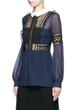 Front View - Click To Enlarge - self-portrait - Balloon sleeve guipure lace chiffon blouse