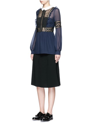 Figure View - Click To Enlarge - self-portrait - Balloon sleeve guipure lace chiffon blouse