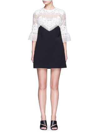 Main View - Click To Enlarge - self-portrait - Trumpet sleeve guipure lace crepe shift dress