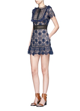 Figure View - Click To Enlarge - self-portrait - 'Louisa' ruffle bib 3D floral guipure lace dress