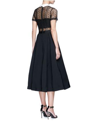 Back View - Click To Enlarge - self-portrait - 'Fleur' guipure lace bodice crepe dress
