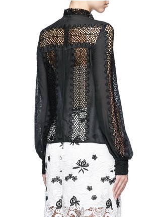 Back View - Click To Enlarge - self-portrait - Balloon sleeve lace panel chiffon blouse