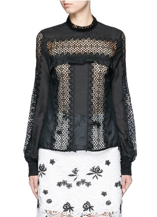 Main View - Click To Enlarge - self-portrait - Balloon sleeve lace panel chiffon blouse