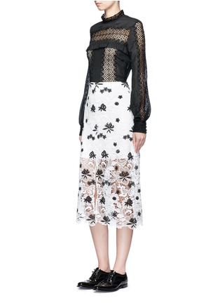 Figure View - Click To Enlarge - self-portrait - Balloon sleeve lace panel chiffon blouse