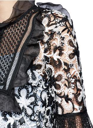 Detail View - Click To Enlarge - self-portrait - Trumpet sleeve daisy guipure lace mini dress