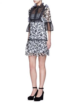 Figure View - Click To Enlarge - self-portrait - Trumpet sleeve daisy guipure lace mini dress