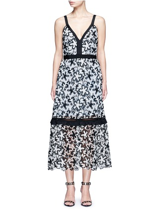 Main View - Click To Enlarge - SELF-PORTRAIT - 'Line' floral guipure lace V-neck dress