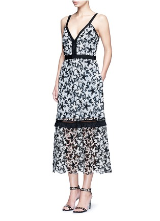 Figure View - Click To Enlarge - SELF-PORTRAIT - 'Line' floral guipure lace V-neck dress