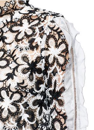 Detail View - Click To Enlarge - self-portrait - 'Line' organza sleeve trim floral guipure lace top