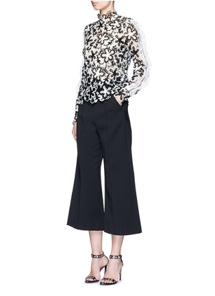 Figure View - Click To Enlarge - self-portrait - 'Line' organza sleeve trim floral guipure lace top
