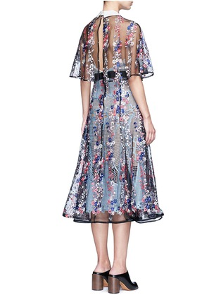 Back View - Click To Enlarge - self-portrait - 'Floral Vine' embroidered lace cape midi dress