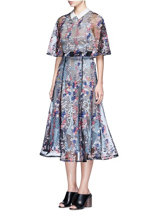 Front View - Click To Enlarge - self-portrait - 'Floral Vine' embroidered lace cape midi dress