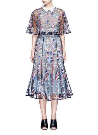 Main View - Click To Enlarge - self-portrait - 'Floral Vine' embroidered lace cape midi dress