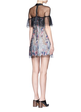 Back View - Click To Enlarge - SELF-PORTRAIT - 'Floral Vine' embroidered tulle lace ruffle dress