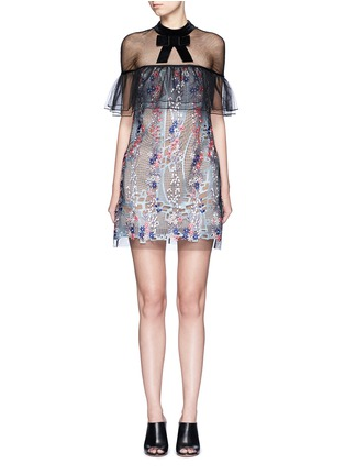 Main View - Click To Enlarge - self-portrait - 'Floral Vine' embroidered tulle lace ruffle dress