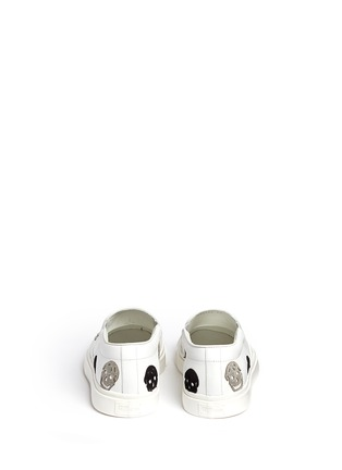 Back View - Click To Enlarge - Alexander McQueen - 'Larry' skull suede appliqué leather skate slip-ons