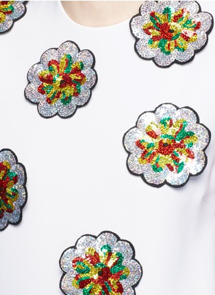 Detail View - Click To Enlarge - VICTORIA, VICTORIA BECKHAM - Floral patch embroidery crepe dress