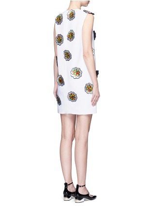 Back View - Click To Enlarge - VICTORIA, VICTORIA BECKHAM - Floral patch embroidery crepe dress