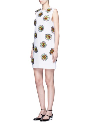 Figure View - Click To Enlarge - VICTORIA, VICTORIA BECKHAM - Floral patch embroidery crepe dress